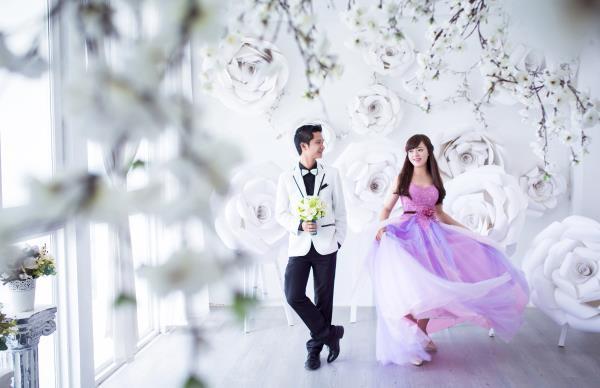 Ảnh cưới đẹp dễ thương, lãng mạn với gam màu tươi sáng trong phim trường (6) tại Cưới hỏi trọn gói 365