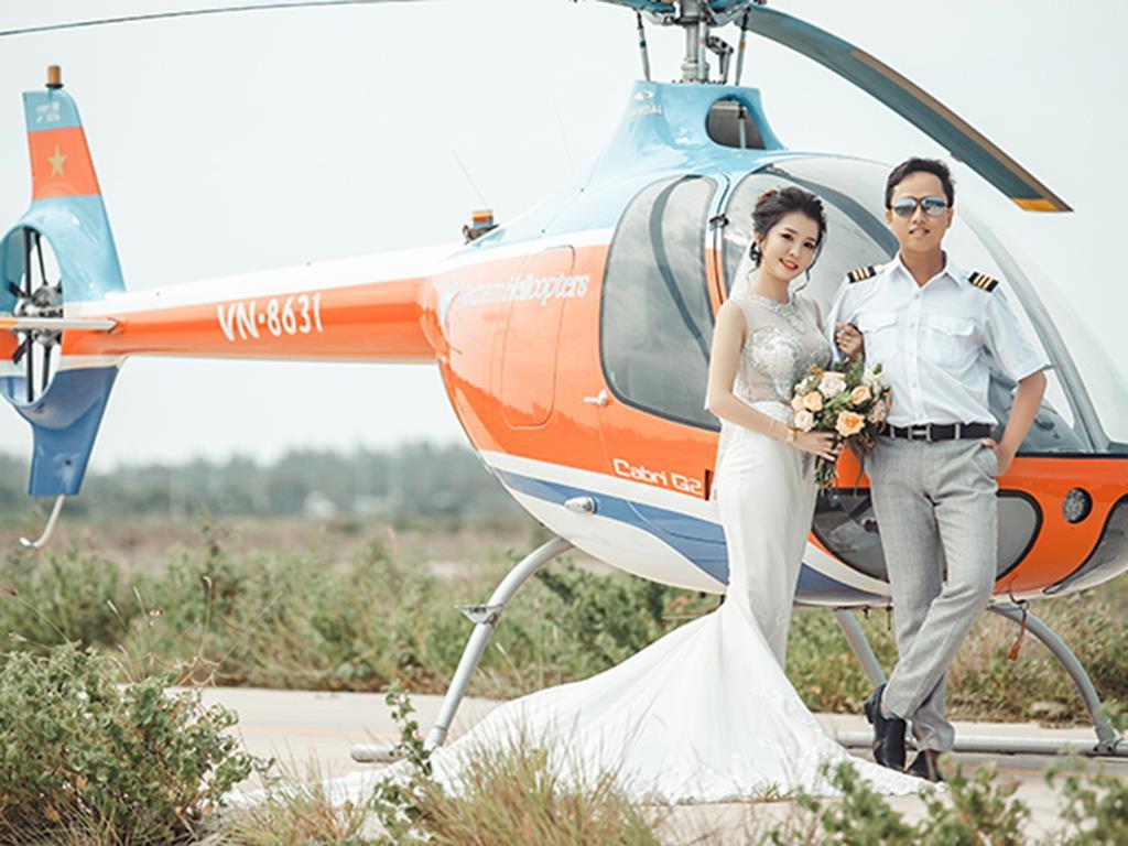 Hình ảnh đẹp Ảnh cưới bên trực thăng của đôi uyên ương