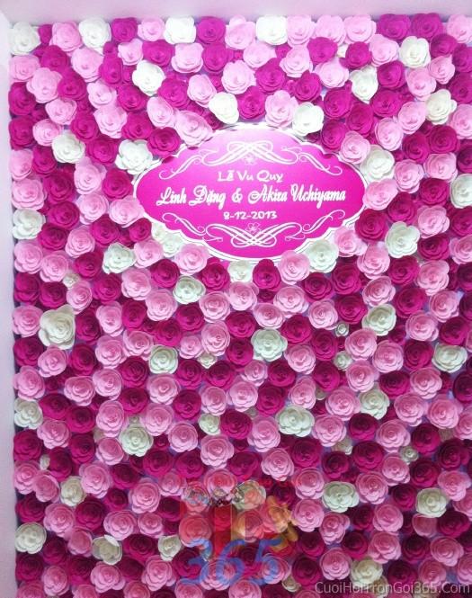 Backdrop hoa đám cưới tông màu hồng sen đa sắc tươi đẹp kết từ hoa giấy nhỏ xinh phủ đầyBDNH40 : Mẫu cưới hỏi trọn gói 365 của công ty dịch vụ trang trí nhà tiệc cưới hỏi đẹp rẻ uy tín ở tại quận Tân Phú Sài Gòn TPHCM Gò Vấp