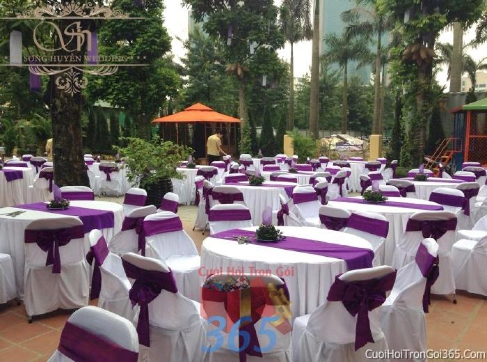 Cho thuê bàn ghế dựa cao cấp màu tím trang trí lễ cưới, đãi tiệc cưới ăn hỏi BG11 : Mẫu cưới hỏi trọn gói 365 của công ty dịch vụ trang trí nhà tiệc cưới hỏi đẹp rẻ uy tín ở tại quận Tân Phú Sài Gòn TPHCM Gò Vấp