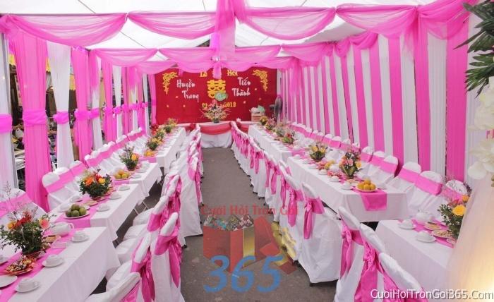 Cho thuê bàn ghế dựa cao cấp màu trắng hồng trang trí lễ cưới, đãi tiệc cưới ăn hỏi BG02 : Mẫu cưới hỏi trọn gói 365 của công ty dịch vụ trang trí nhà tiệc cưới hỏi đẹp rẻ uy tín ở tại quận Tân Phú Sài Gòn TPHCM Gò Vấp