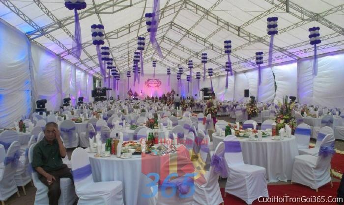 Cho thuê bàn ghế dựa cao cấp màu trắng tím trang trí lễ cưới, đãi tiệc cưới ăn hỏi BG05 : Mẫu cưới hỏi trọn gói 365 của công ty dịch vụ trang trí nhà tiệc cưới hỏi đẹp rẻ uy tín ở tại quận Tân Phú Sài Gòn TPHCM Gò Vấp