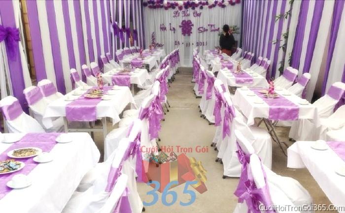 Cho thuê bàn ghế dựa cao cấp màu trắng tím trang trí lễ cưới, đãi tiệc cưới ăn hỏi BG06 : Mẫu cưới hỏi trọn gói 365 của công ty dịch vụ trang trí nhà tiệc cưới hỏi đẹp rẻ uy tín ở tại quận Tân Phú Sài Gòn TPHCM Gò Vấp