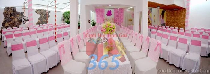 dịch vụ cưới hỏi trọn gói - Cho thuê bàn ghế dựa màu trắng hồng cao cấp trang trí lễ cưới, đãi tiệc cưới ănBG17