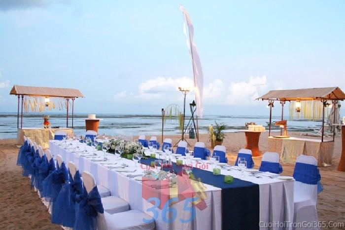 Cho thuê bàn ghế dựa màu trắng xanh dương trang trí lễ cưới, đãi tiệc cưới ănBG18 : Mẫu cưới hỏi trọn gói 365 của công ty dịch vụ trang trí nhà tiệc cưới hỏi đẹp rẻ uy tín ở tại quận Tân Phú Sài Gòn TPHCM Gò Vấp