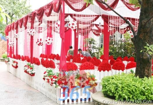 Cho thuê nhà tiệc khung rạp cưới màu đỏ làm lễ đãi tiệc đám cưới ăn hỏi RC05 : Mẫu cưới hỏi trọn gói 365 của công ty dịch vụ trang trí nhà tiệc cưới hỏi đẹp rẻ uy tín ở tại quận Tân Phú Sài Gòn TPHCM Gò Vấp