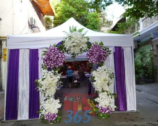 Cho thuê nhà tiệc, rạp đón khách tông trắng tím mẫu kết voan hiện đại cho ngày cướiRC09 : Mẫu cưới hỏi trọn gói 365 của công ty dịch vụ trang trí nhà tiệc cưới hỏi đẹp rẻ uy tín ở tại quận Tân Phú Sài Gòn TPHCM Gò Vấp