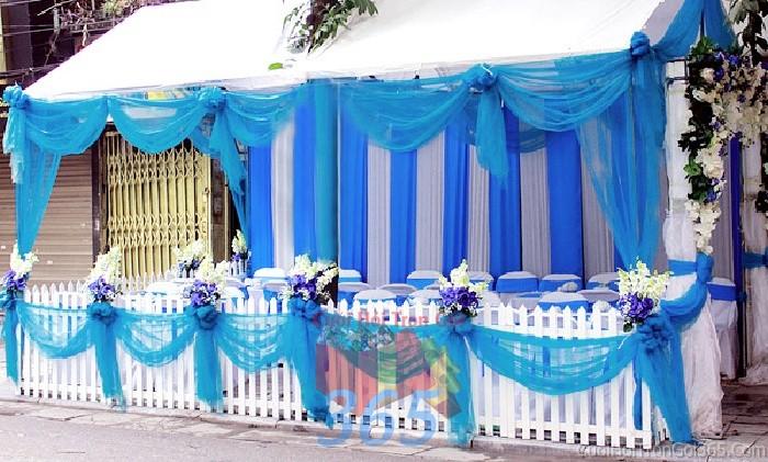 Cho thuê nhà tiệc, rạp đón khách tông xanh biển mẫu voan hàng rào hiện đại cho ngày cướiRC11 : Mẫu cưới hỏi trọn gói 365 của công ty dịch vụ trang trí nhà tiệc cưới hỏi đẹp rẻ uy tín ở tại quận Tân Phú Sài Gòn TPHCM Gò Vấp
