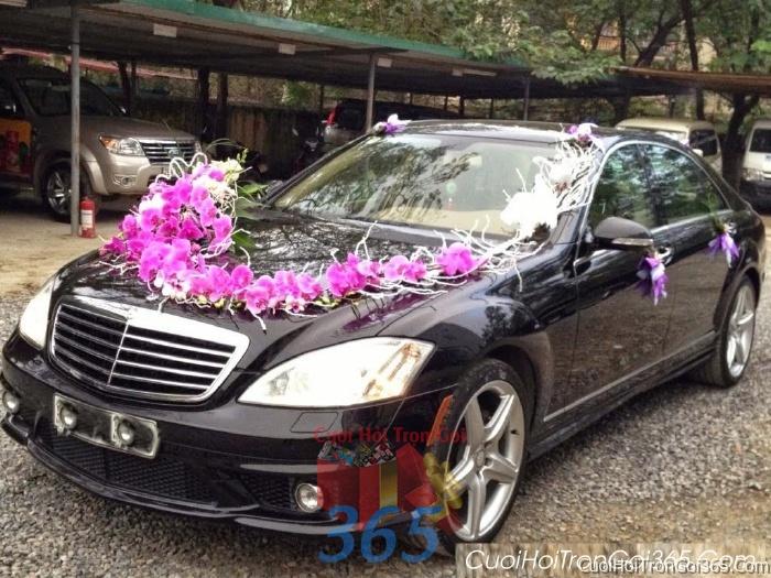 Cho thuê xe cưới 4 chỗ 7 chỗ màu đen kết hoa phông lan tím để đón rước dâu ngày đám cướiX4C19 : Mẫu cưới hỏi trọn gói 365 của công ty dịch vụ trang trí nhà tiệc cưới hỏi đẹp rẻ uy tín ở tại quận Tân Phú Sài Gòn TPHCM Gò Vấp