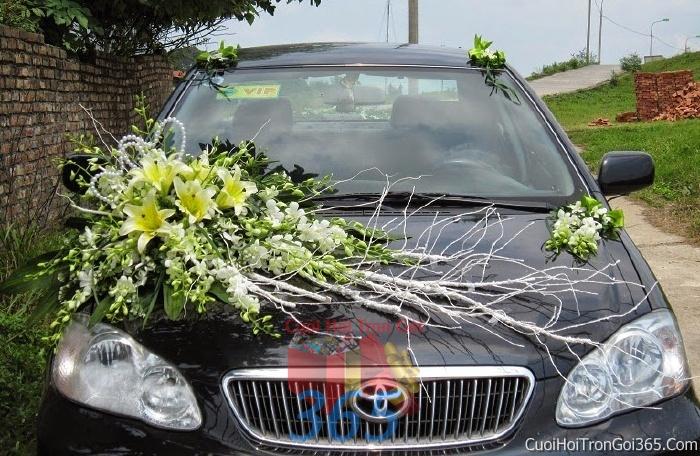 Cho thuê xe cưới 4 chỗ 7 chỗ màu đen kết hoa phông lan vàng trắng để đón rước dâu ngày đám cưới X4C23 : Mẫu cưới hỏi trọn gói 365 của công ty dịch vụ trang trí nhà tiệc cưới hỏi đẹp rẻ uy tín ở tại quận Tân Phú Sài Gòn TPHCM Gò Vấp