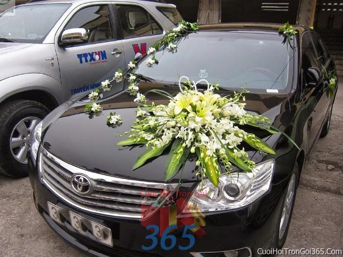 Cho thuê xe cưới 4 chỗ 7 chỗ màu đen kết hoa phông lan vàng trắng để đón rước dâu ngày đám cưới X4C24 : Mẫu cưới hỏi trọn gói 365 của công ty dịch vụ trang trí nhà tiệc cưới hỏi đẹp rẻ uy tín ở tại quận Tân Phú Sài Gòn TPHCM Gò Vấp