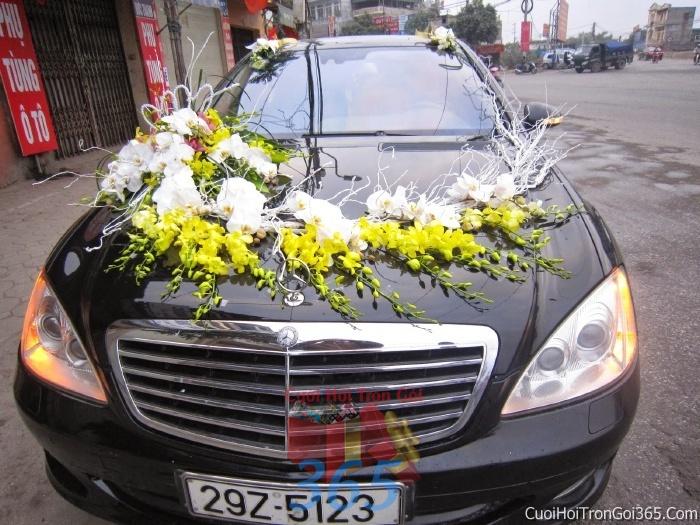 Cho thuê xe cưới 4 chỗ 7 chỗ màu đen kết hoa phông lan vàng trắng để đón rước dâu ngày đám cưới X4C25 : Mẫu cưới hỏi trọn gói 365 của công ty dịch vụ trang trí nhà tiệc cưới hỏi đẹp rẻ uy tín ở tại quận Tân Phú Sài Gòn TPHCM Gò Vấp