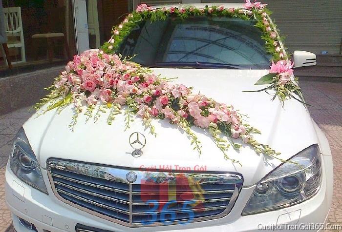 Cho thuê xe cưới 4 chỗ 7 chỗ màu trắng kết hoa hoa phong lan trắng hồng để đón rước dâu ngày đám cưới X4C02 : Mẫu cưới hỏi trọn gói 365 của công ty dịch vụ trang trí nhà tiệc cưới hỏi đẹp rẻ uy tín ở tại quận Tân Phú Sài Gòn TPHCM Gò Vấp