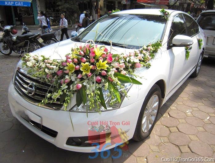 Cho thuê xe cưới 4 chỗ 7 chỗ màu trắng kết hoa hoa phong lan trắng hồngđể đón rước dâu ngày đám cưới X4C03 : Mẫu cưới hỏi trọn gói 365 của công ty dịch vụ trang trí nhà tiệc cưới hỏi đẹp rẻ uy tín ở tại quận Tân Phú Sài Gòn TPHCM Gò Vấp