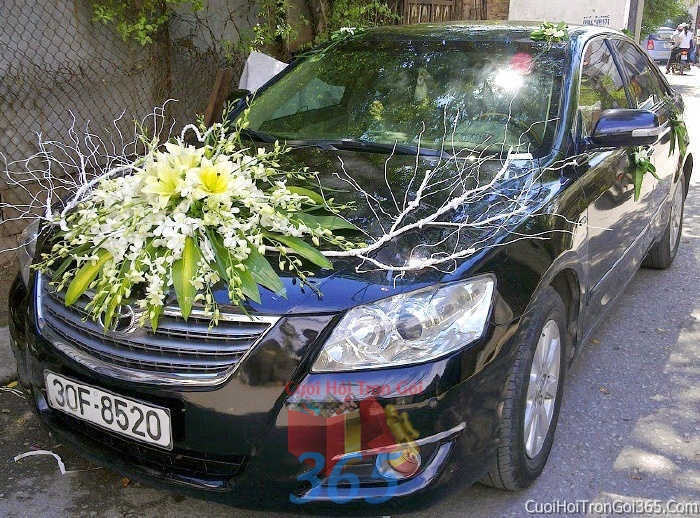 Cho thuê xe cưới 4 chỗ 7 chỗ màu xanh đen kết hoa để đón rước dâu ngày đám cướiX4C12 : Mẫu cưới hỏi trọn gói 365 của công ty dịch vụ trang trí nhà tiệc cưới hỏi đẹp rẻ uy tín ở tại quận Tân Phú Sài Gòn TPHCM Gò Vấp