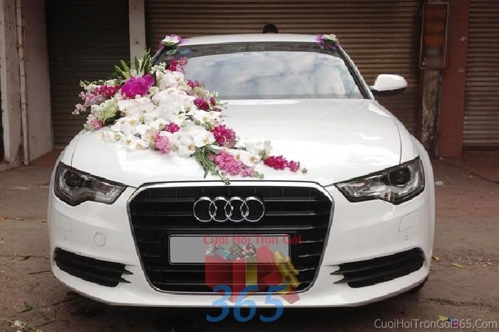 Cho thuê xe cưới 4 chỗ màu trắng kết hoa lan hồ điệp trắng hồng tuyệt đẹp để đón rước dâu ngày đám X4C36 : Mẫu cưới hỏi trọn gói 365 của công ty dịch vụ trang trí nhà tiệc cưới hỏi đẹp rẻ uy tín ở tại quận Tân Phú Sài Gòn TPHCM Gò Vấp