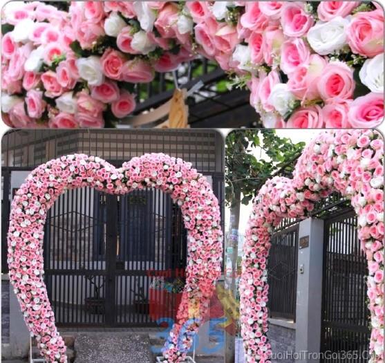 Cổng cưới hoa vải màu trắng hồng pastel dễ thương hình trái tim cho lễ ăn hỏi, vu quy, tânCHV07 : Mẫu cưới hỏi trọn gói 365 của công ty dịch vụ trang trí nhà tiệc cưới hỏi đẹp rẻ uy tín ở tại quận Tân Phú Sài Gòn TPHCM Gò Vấp