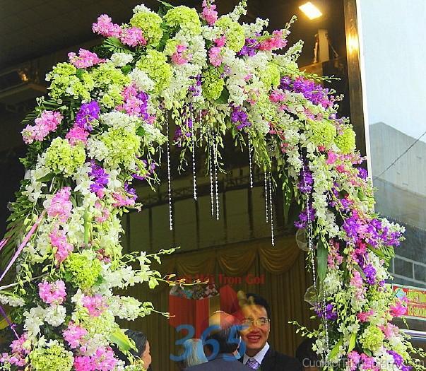 Cổng cưới kết hoa tươi tông tím hồng rực rỡ từ cẩm tú cầu, phong lan tươi tắn cho lễ ăn hỏi, đính hôn, đám CHT35 : Mẫu cưới hỏi trọn gói 365 của công ty dịch vụ trang trí nhà tiệc cưới hỏi đẹp rẻ uy tín ở tại quận Tân Phú Sài Gòn TPHCM Gò Vấp