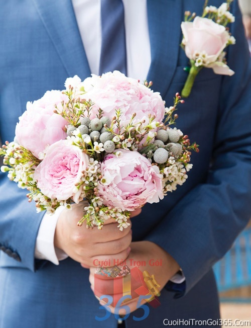 Hoa cầm tay cô dâu tông hồng pastel kết đẹp, dễ thương cho ngày lễ ăn hỏi, tiệc đám cưới HC09 : Mẫu cưới hỏi trọn gói 365 của công ty dịch vụ trang trí nhà tiệc cưới hỏi đẹp rẻ uy tín ở tại quận Tân Phú Sài Gòn TPHCM Gò Vấp