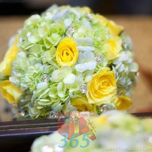 dịch vụ cưới hỏi trọn gói - Hoa cầm tay cô dâu vàng xanh kết đẹp, phong cách dịu ngọt cho ngày lễ ăn hỏi, tiệc đám HC80