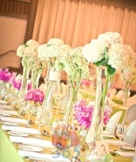 Lọ hoa thủy tinh cao để bàn tông trắng thuần khiết cho lễ cưới, ăn hỏi, đính hôn để trang trí nhà ngày cướiHDB24 : Mẫu cưới hỏi trọn gói 365 của công ty dịch vụ trang trí nhà tiệc cưới hỏi đẹp rẻ uy tín ở tại quận Tân Phú Sài Gòn TPHCM Gò Vấp
