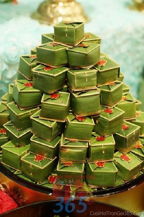 Mâm quả cưới hỏi bánh cốm cho nghi lễ gia tiên ăn hỏi, đám MQ09 : Mẫu cưới hỏi trọn gói 365 của công ty dịch vụ trang trí nhà tiệc cưới hỏi đẹp rẻ uy tín ở tại quận Tân Phú Sài Gòn TPHCM Gò Vấp