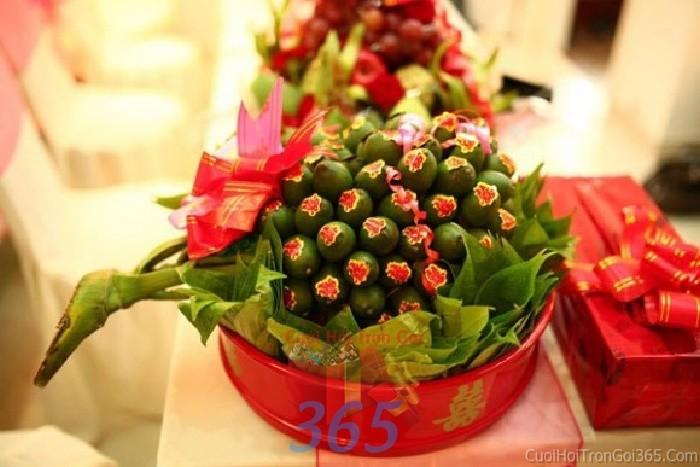 Mâm quả cưới hỏi trầu cau cho nghi lễ gia tiên ăn hỏi, đám MQ14 : Mẫu cưới hỏi trọn gói 365 của công ty dịch vụ trang trí nhà tiệc cưới hỏi đẹp rẻ uy tín ở tại quận Tân Phú Sài Gòn TPHCM Gò Vấp