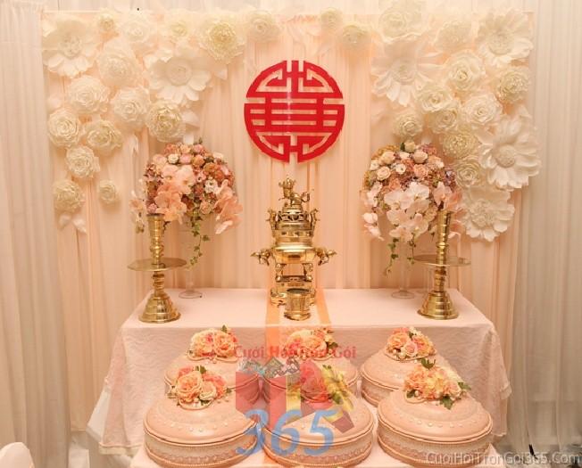 Mâm quả cưới hỏi trọn gói 6 quả màu pastel cho nghi lễ gia tiên ăn hỏi, đám MQ16 : Mẫu cưới hỏi trọn gói 365 của công ty dịch vụ trang trí nhà tiệc cưới hỏi đẹp rẻ uy tín ở tại quận Tân Phú Sài Gòn TPHCM Gò Vấp