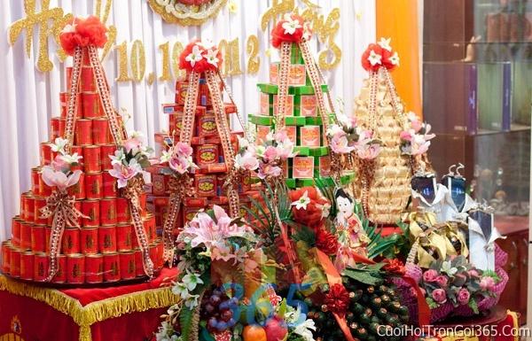 Mâm quả cưới hỏi trọn gói làm nghi lễ đính hôn, đám cưới rước dâu MQ05 : Mẫu cưới hỏi trọn gói 365 của công ty dịch vụ trang trí nhà tiệc cưới hỏi đẹp rẻ uy tín ở tại quận Tân Phú Sài Gòn TPHCM Gò Vấp