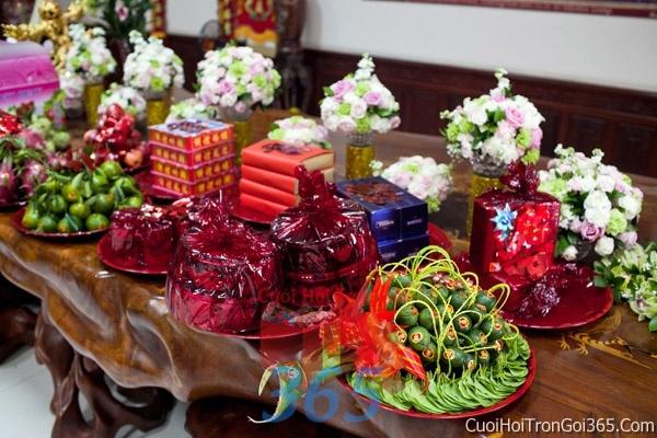Mâm quả cưới hỏi trọn gói làm nghi lễ đính hôn, đám cưới rước dâu MQ06 : Mẫu cưới hỏi trọn gói 365 của công ty dịch vụ trang trí nhà tiệc cưới hỏi đẹp rẻ uy tín ở tại quận Tân Phú Sài Gòn TPHCM Gò Vấp
