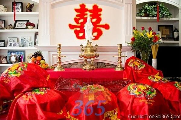 Mâm quả cưới hỏi trọn gói làm nghi lễ đính hôn, đám cưới rước dâu MQ08 : Mẫu cưới hỏi trọn gói 365 của công ty dịch vụ trang trí nhà tiệc cưới hỏi đẹp rẻ uy tín ở tại quận Tân Phú Sài Gòn TPHCM Gò Vấp