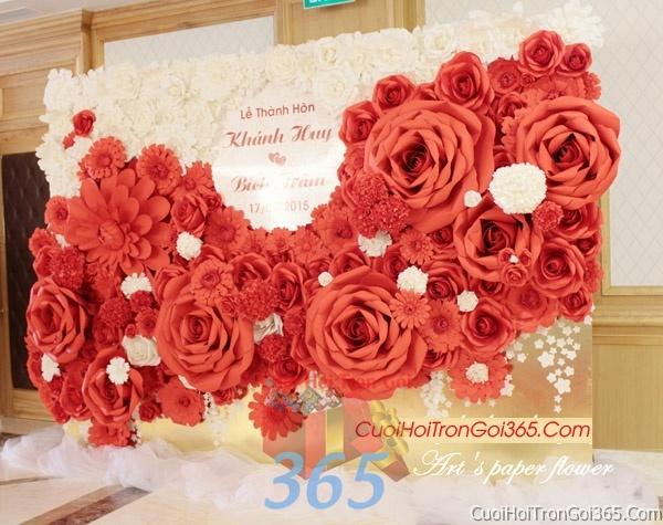 Phông cưới backdrop chụp hình đám cưới ngày lễ ăn hỏi làm bằng hoa giấy vải tông màu hồng trắng đỏ rực rỡ BDNH05 : Mẫu cưới hỏi trọn gói 365 của công ty dịch vụ trang trí nhà tiệc cưới hỏi đẹp rẻ uy tín ở tại quận Tân Phú Sài Gòn TPHCM Gò Vấp