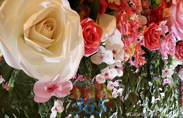 Phông cưới backdrop chụp hình đám cưới ngày lễ ăn hỏi làm bằng hoa giấy vải tông màu hồng trắng hồng tươi xinh BDNH04 : Mẫu cưới hỏi trọn gói 365 của công ty dịch vụ trang trí nhà tiệc cưới hỏi đẹp rẻ uy tín ở tại quận Tân Phú Sài Gòn TPHCM Gò Vấp
