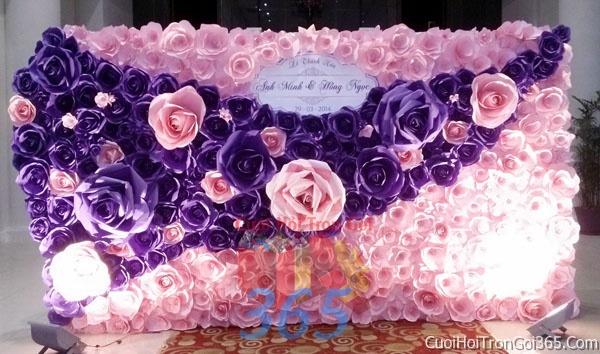 Phông cưới backdrop chụp hình đám cưới ngày lễ ăn hỏi làm bằng hoa giấy vải tông màu tím hồngBDNH14 : Mẫu cưới hỏi trọn gói 365 của công ty dịch vụ trang trí nhà tiệc cưới hỏi đẹp rẻ uy tín ở tại quận Tân Phú Sài Gòn TPHCM Gò Vấp