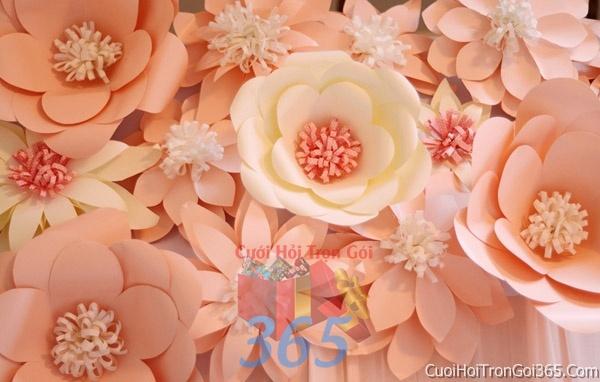Phông cưới backdrop chụp hình đám cưới ngày lễ ăn hỏi làm bằng hoa giấy vải tông màu trắng hồng pastel BDNH09 : Mẫu cưới hỏi trọn gói 365 của công ty dịch vụ trang trí nhà tiệc cưới hỏi đẹp rẻ uy tín ở tại quận Tân Phú Sài Gòn TPHCM Gò Vấp