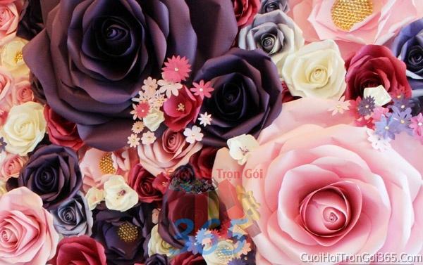 Phông cưới backdrop chụp hình đám cưới ngày lễ ăn hỏi làm bằng hoa giấy vải tông trắng hồng tím BDNH20 : Mẫu cưới hỏi trọn gói 365 của công ty dịch vụ trang trí nhà tiệc cưới hỏi đẹp rẻ uy tín ở tại quận Tân Phú Sài Gòn TPHCM Gò Vấp