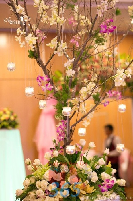 Phụ kiện đám cưới cây kết hoa tươi, treo nến nhỏ xinh dùng để trang trí bàn ký tên đón khách, không gian tiệc cưới nhà PKC45 : Mẫu cưới hỏi trọn gói 365 của công ty dịch vụ trang trí nhà tiệc cưới hỏi đẹp rẻ uy tín ở tại quận Tân Phú Sài Gòn TPHCM Gò Vấp