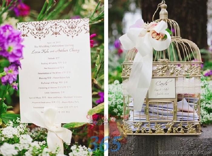 Phụ kiện đám cưới lồng chim trang trí hoa lan hồ điệp dùng để trang trí bàn ký tên đón khách, không gian tiệc cưới nhà PKC68 : Mẫu cưới hỏi trọn gói 365 của công ty dịch vụ trang trí nhà tiệc cưới hỏi đẹp rẻ uy tín ở tại quận Tân Phú Sài Gòn TPHCM Gò Vấp
