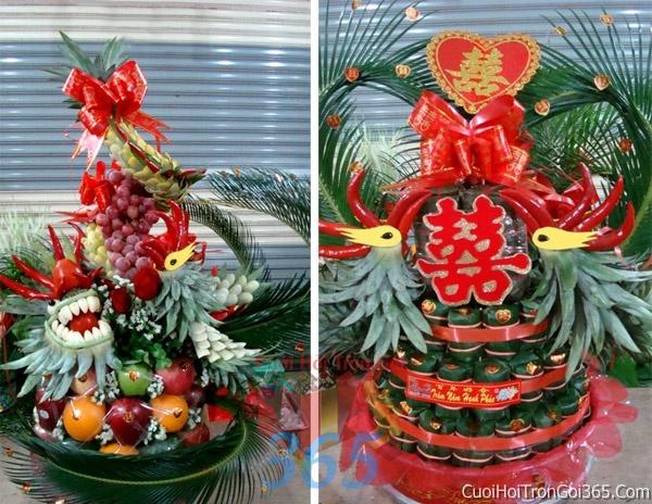 Rồng phụng trái cây làm long trọng bàn thờ ngày RPTC01 : Mẫu cưới hỏi trọn gói 365 của công ty dịch vụ trang trí nhà tiệc cưới hỏi đẹp rẻ uy tín ở tại quận Tân Phú Sài Gòn TPHCM Gò Vấp