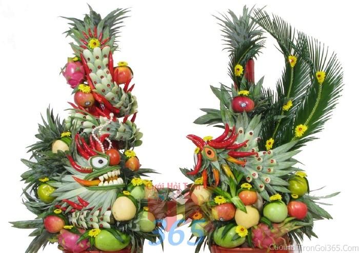 Rồng phụng trái cây tươi ngon, sóng động để trang trí bàn thờ gia tiên ngày lễ ăn hỏi, đínhRPTC04 : Mẫu cưới hỏi trọn gói 365 của công ty dịch vụ trang trí nhà tiệc cưới hỏi đẹp rẻ uy tín ở tại quận Tân Phú Sài Gòn TPHCM Gò Vấp
