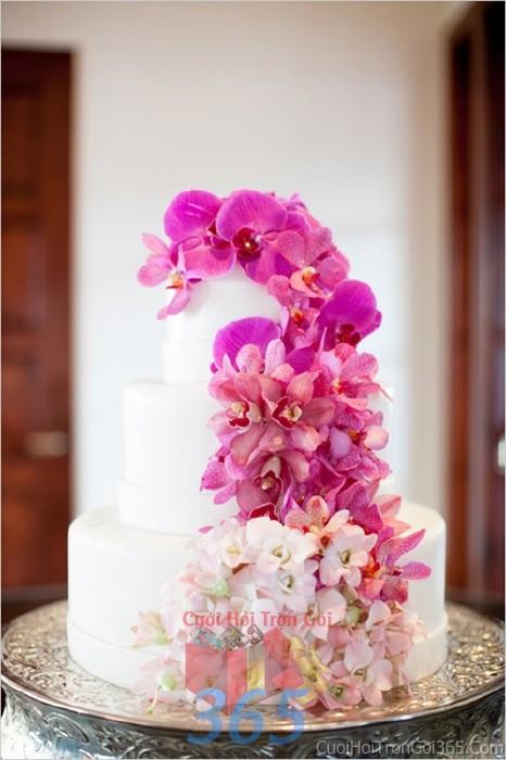 Trang trí bánh kem tông trắng tím, tháp rượu với hoa tươi lan hồ điệp cho sân khấu tiệc nhà hàng ngày đám cướiTRBC29 : Mẫu cưới hỏi trọn gói 365 của công ty dịch vụ trang trí nhà tiệc cưới hỏi đẹp rẻ uy tín ở tại quận Tân Phú Sài Gòn TPHCM Gò Vấp