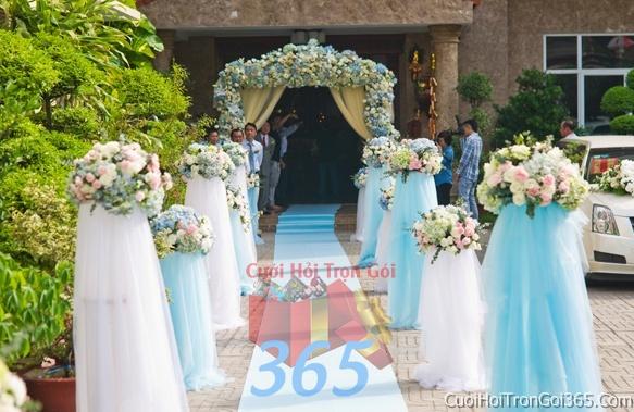 dịch vụ cưới hỏi trọn gói - Trang trí chi tiết nhà lối đi với những trụ hoa trắng xanh biển và voan trong ngày cưới, lễ đính hôn, ăn hỏi gia tiên CTN11
