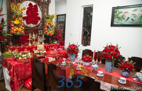 Trang trí nhà cưới hỏi tông màu đỏ song hỷ cho ngày lễ đính hôn, ăn hỏi gia tiên, đám cưới TTNCH40 : Mẫu cưới hỏi trọn gói 365 của công ty dịch vụ trang trí nhà tiệc cưới hỏi đẹp rẻ uy tín ở tại quận Tân Phú Sài Gòn TPHCM Gò Vấp