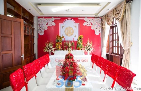 Trang trí nhà cưới hỏi tông màu đỏ song hỷ cho ngày lễ đính hôn, ăn hỏi gia tiên, đám cưới TTNCH46 : Mẫu cưới hỏi trọn gói 365 của công ty dịch vụ trang trí nhà tiệc cưới hỏi đẹp rẻ uy tín ở tại quận Tân Phú Sài Gòn TPHCM Gò Vấp