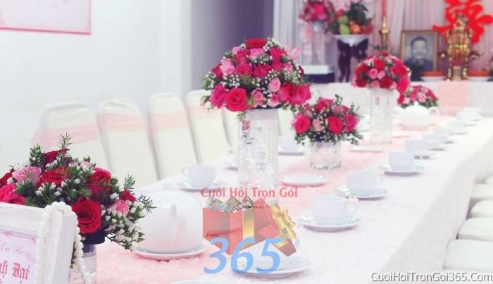 Trang trí nhà cưới hỏi tông màu đỏ song hỷ cho ngày lễ đính hôn, ăn hỏi gia tiên, đám cưới TTNCH48 : Mẫu cưới hỏi trọn gói 365 của công ty dịch vụ trang trí nhà tiệc cưới hỏi đẹp rẻ uy tín ở tại quận Tân Phú Sài Gòn TPHCM Gò Vấp
