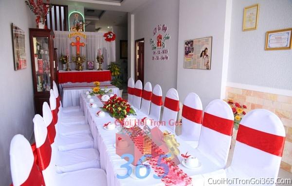 Trang trí nhà cưới hỏi tông màu đỏ song hỷ cho ngày lễ đính hôn, ăn hỏi gia tiên, đám cướiTTNCH50 : Mẫu cưới hỏi trọn gói 365 của công ty dịch vụ trang trí nhà tiệc cưới hỏi đẹp rẻ uy tín ở tại quận Tân Phú Sài Gòn TPHCM Gò Vấp