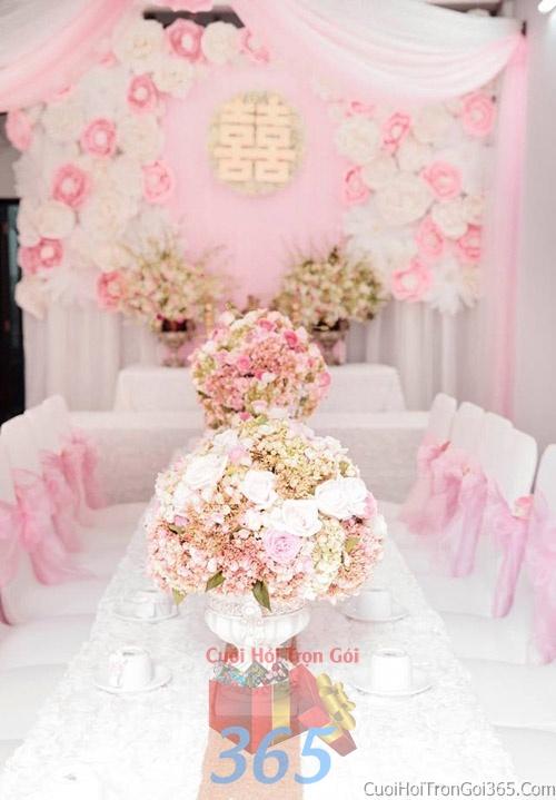 Trang trí nhà cưới hỏi tông màu hồng pastel cho ngày lễ đính hôn, ăn hỏi gia tiên, đám cưới TTNCH09 : Mẫu cưới hỏi trọn gói 365 của công ty dịch vụ trang trí nhà tiệc cưới hỏi đẹp rẻ uy tín ở tại quận Tân Phú Sài Gòn TPHCM Gò Vấp