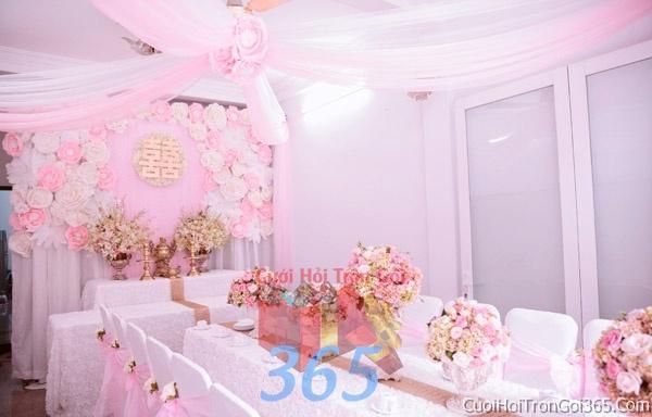 Trang trí nhà cưới hỏi tông màu hồng pastel cho ngày lễ đính hôn, ăn hỏi gia tiên, đám cưới TTNCH10 : Mẫu cưới hỏi trọn gói 365 của công ty dịch vụ trang trí nhà tiệc cưới hỏi đẹp rẻ uy tín ở tại quận Tân Phú Sài Gòn TPHCM Gò Vấp