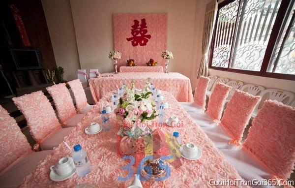 Trang trí nhà cưới hỏi tông màu hồng pastel cho ngày lễ đính hôn, ăn hỏi gia tiên, đám cưới TTNCH12 : Mẫu cưới hỏi trọn gói 365 của công ty dịch vụ trang trí nhà tiệc cưới hỏi đẹp rẻ uy tín ở tại quận Tân Phú Sài Gòn TPHCM Gò Vấp