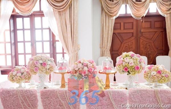 Trang trí nhà cưới hỏi tông màu hồng pastel cho ngày lễ đính hôn, ăn hỏi gia tiên, đám cưới TTNCH14 : Mẫu cưới hỏi trọn gói 365 của công ty dịch vụ trang trí nhà tiệc cưới hỏi đẹp rẻ uy tín ở tại quận Tân Phú Sài Gòn TPHCM Gò Vấp